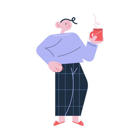 Young happy man in home clothes standing with cup of hot drink in morning Vettoriali