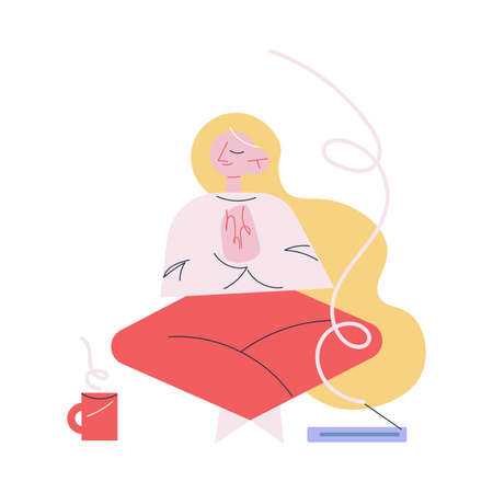Young happy woman in home clothes making meditation in morning Vettoriali