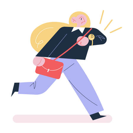 Young stressed woman hurrying and being late on work in morning Vettoriali