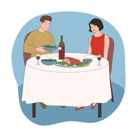 Happy young couple having festive dinner together Illustration