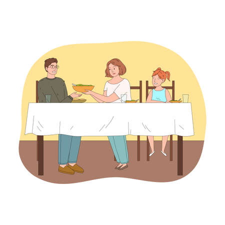 Happy young family with daughter having festive dinner celebrating holiday together Illustration