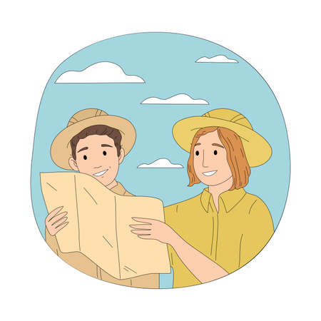 Couple tourists travelers in hats looking at map during safari trip Illustration