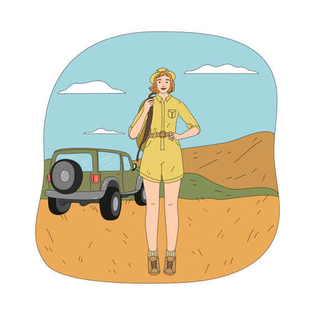 Young happy woman standing over car vehicle during safari trip