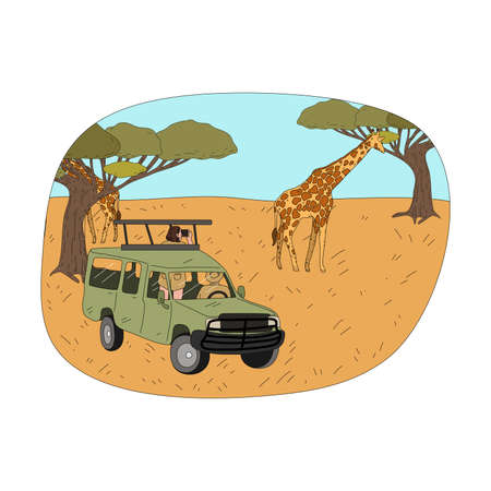 Young couple tourists sitting in car looking at giraffes with binoculars Illustration