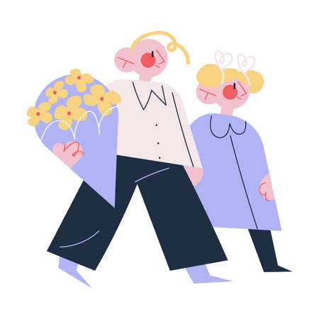 Smiling boy and girl students or pupils carrying flowers for teachers day Illustration