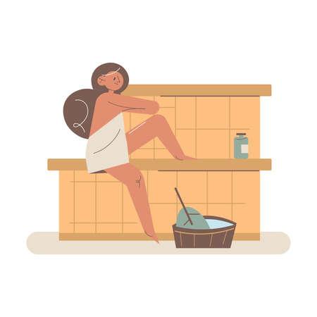 Happy young woman sitting applying cosmetics on wet skin enjoying sauna