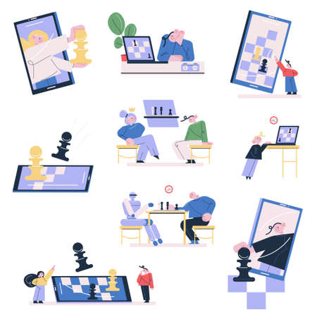 Set of people and children playing chess online on smartphones and laptops Illustration