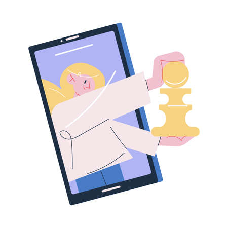 Young smiling woman playing chess online on smartphone Illustration