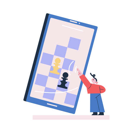 Young boy standing playing chess online on huge tablet Illustration
