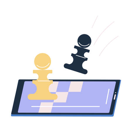 Smartphone screen with special application for playing chess online Illustration