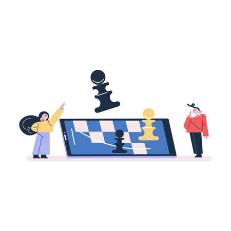 Children boy and girl standing playing chess online on smartphone