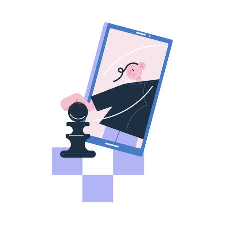Smartphone screen with positive boy playing chess online