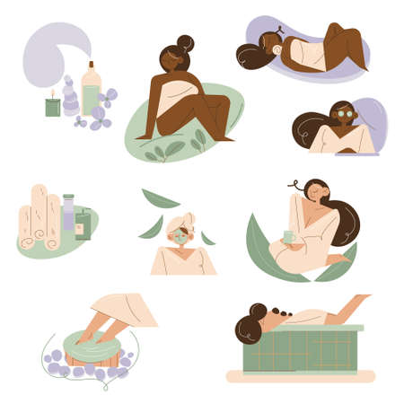 Set of young multiethnic women enjoying skincare and treatments in spa Illustration