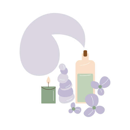 Bottles with organic cosmetics candles and stones for skincare in spa salon Illustration