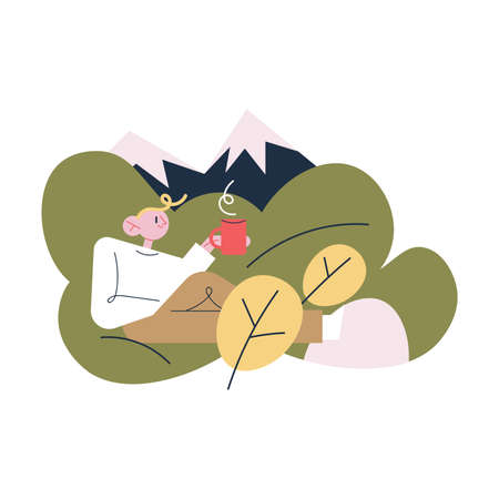 Happy young man traveler sitting on grass drinking hot tea or coffee during traveling Illustration