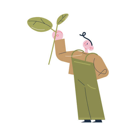 Young man worker in uniform standing holding branch of tea plant with leaves Illustration