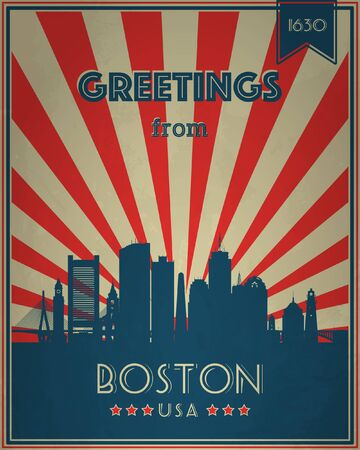 brand new: Vintage Touristic Greeting Card - Boston, Massachusetts - Vector illustration. Grunge effects can be easily removed for a brand new, clean sign.