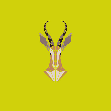 reserve: Vector sign abstract head of African Antelope. Geometric low poly antelope design. Animal living in reserve. Illustration