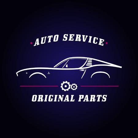 Auto dienst klassieke auto logo. Retro auto service teken. Auto zijaanzicht symbool lay-out. Commerciële advertentie sjabloon voor transport bedrijf. Design elementen.