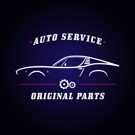 auto service: Auto service classic car logo. Retro car service sign. Car side view symbol layout. Commercial ad template for transportation business. Design elements.