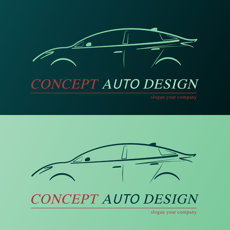 car speed: Concept auto design card. Business card template of green car. Illustration