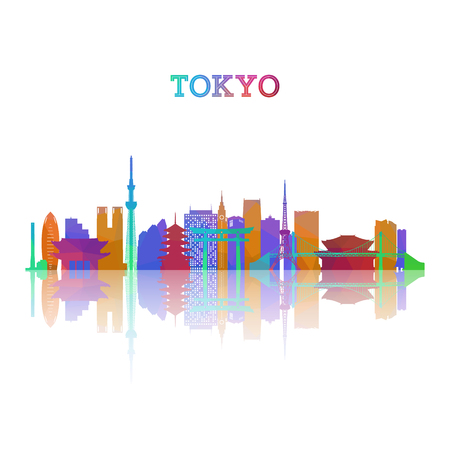 Tokyo skyline silhouete in geometric style. Japan symbol for your design. Vector illustration.