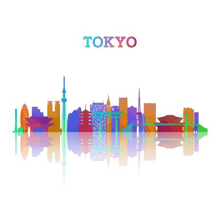 Tokyo skyline silhouete in geometrische stijl. Japan symbool voor uw ontwerp. Vector illustratie. Vector Illustratie