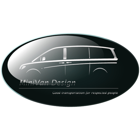 mini van: Silver mini van on dark green background, creative icon symbol. Collection concept vector pictogram for infographic project and logo.
