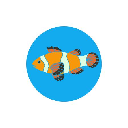 side menu: Polygonal illustration of vector parrot-fish on blue background.