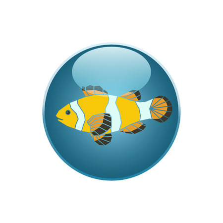 parrotfish: Parrot-fish icon on blue round background. Vector illustration.