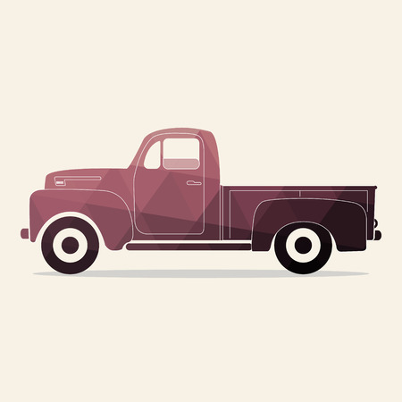 pickup: Classic pickup truck. Polygonal styled vector illustration. Retro car.
