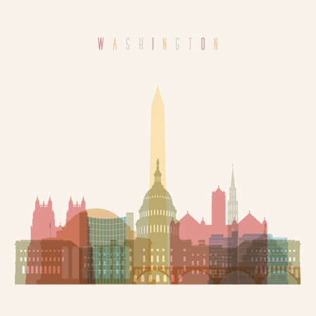 district of columbia: Washington DC skyline multicolor poster in editable vector file.