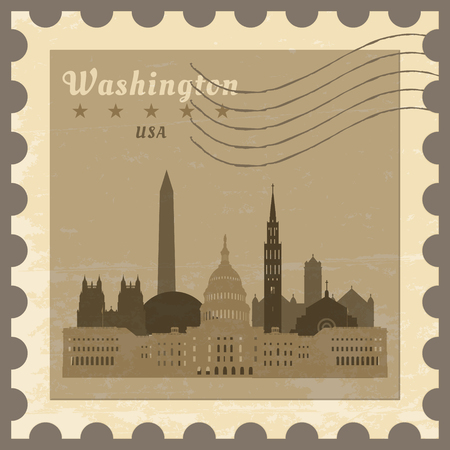 district of columbia: Grunge rubber post stamp with name of Washington, District of Columbia, vector illustration. Illustration