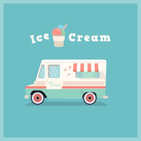 Colorful rétro van de crème glacée. voiture de la boutique Vintage. Vector illustration. Vecteurs