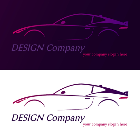 Vector company logo icon element template violet car contour shape fast racing automobile service auto. Vector illustration.