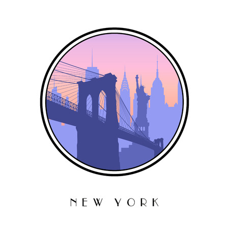 chrysler: Vector icon New York city as a travel destination with Bridge, Statue of Liberty and skyline.