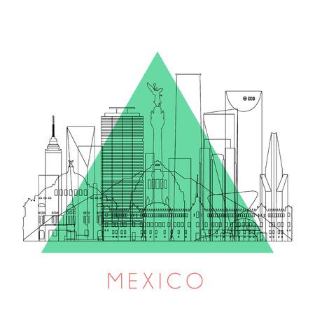 angel de la independencia: Esquema horizonte de M�xico con puntos de referencia de color negro. Ilustraci�n del vector. Los viajes de negocios y turismo concepto de edificios hist�ricos. Imagen de la presentaci�n, la bandera, el cartel y la p�gina web.