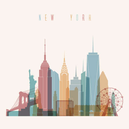 new york skyline: Transparent styled New York City skyline detailed silhouette. Trendy vector illustration.