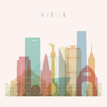 angel de la independencia: Transparente estilo Ciudad de M�xico horizonte de silueta detallada. Ilustraci�n del vector de moda.