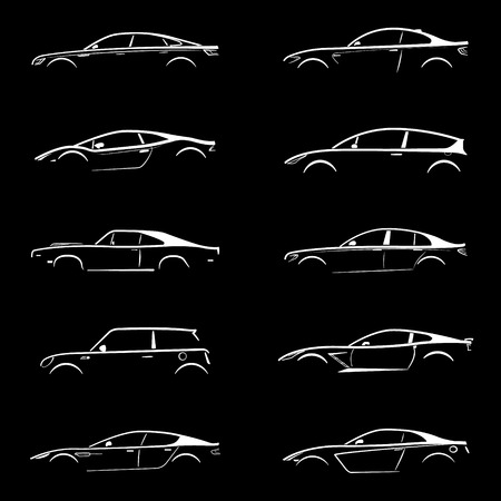 Set of white silhouette car on black background. Vector illustration.