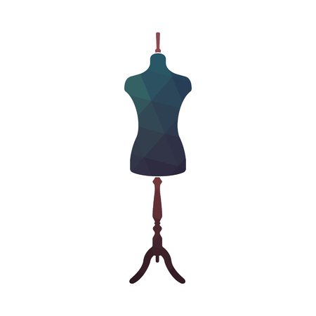 torso: Fashion stand, female torso mannequin. Tailor dummy. Design sewing logo. Vector illustration.