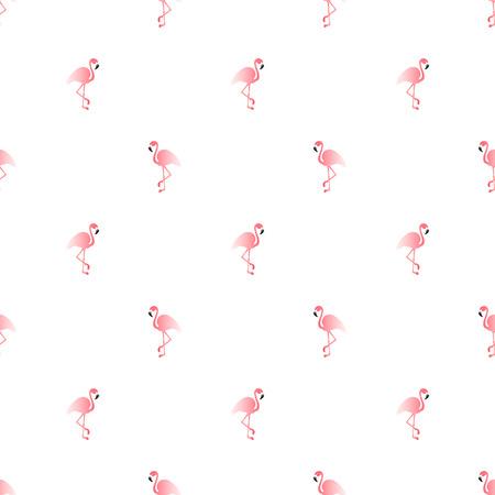 Illustration seamless pattern with pink flamingo. Exotic bird