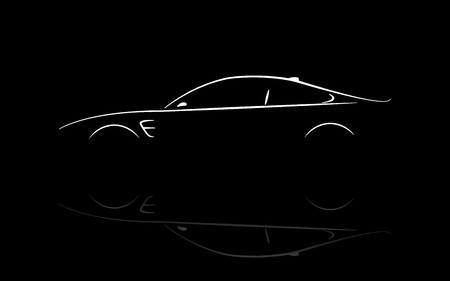 reflection: Silhouette car coupe vector design with reflection.