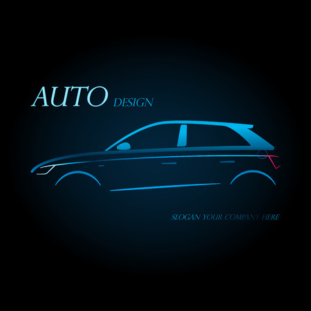 Auto company logo design concept with sports blue hatchback car silhouette on black background. Vector illustration.