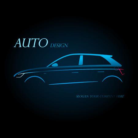 società auto logo concept design con lo sport blu portellone auto silhouette su sfondo nero. Illustrazione vettoriale.