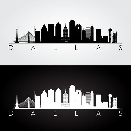 scraper: Dallas USA skyline and landmarks silhouette, black and white design, vector illustration.