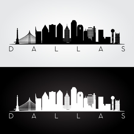 Dallas USA skyline and landmarks silhouette, black and white design, vector illustration.