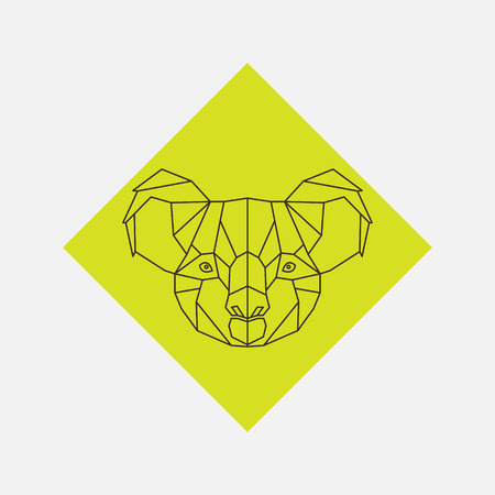 Geometric vector of koala animal head drawn in line or triangle style, suitable for modern tattoo templates, icons or logo elements.