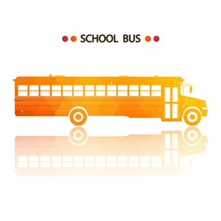 yellow schoolbus: Vector yellow school bus isolated on white background with reflection.