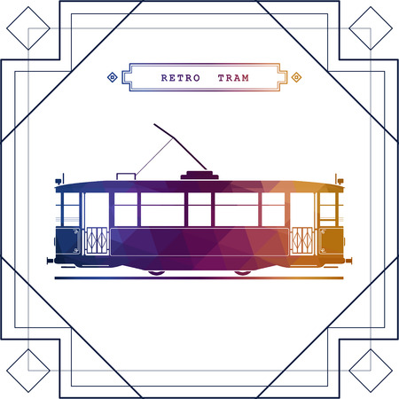 touristic: Multicolor retro vector tram car. Mass transit vintage graphic element on electric tramway car. Ideal for urban lifestyle, touristic and sightseeing graphic and web design Illustration